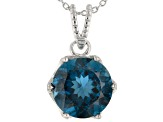 London Blue Topaz rhodium over sterling silver solitaire pendant with chain 5.50ct