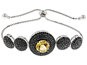 Yellow Citrine Sterling Silver Adjustable Bolo Bracelet 4.35ctw