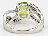 Green peridot sterling silver ring 3.15ctw