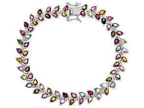 Multi Color Tourmaline Rhodium Over Sterling Silver Bracelet 9.50ctw