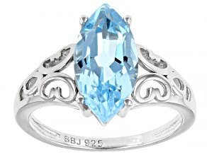 Sky Blue Topaz rhodium over sterling silver solitaire ring 3.50ct
