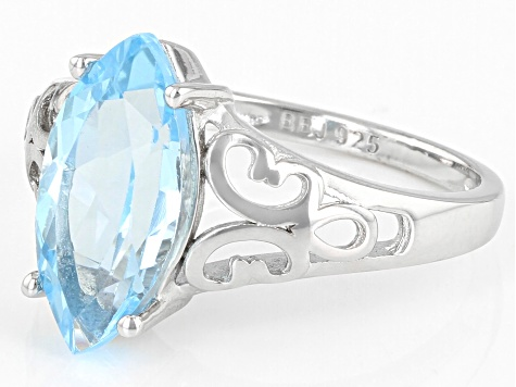 Sky Blue Topaz sterling silver solitaire ring 3.50ct