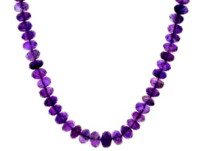Purple African Amethyst Sterling Silver Graduated Necklace 200.00ctw