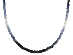 Multi-color sapphire bead sterling silver magnetic necklace 51.00ctw