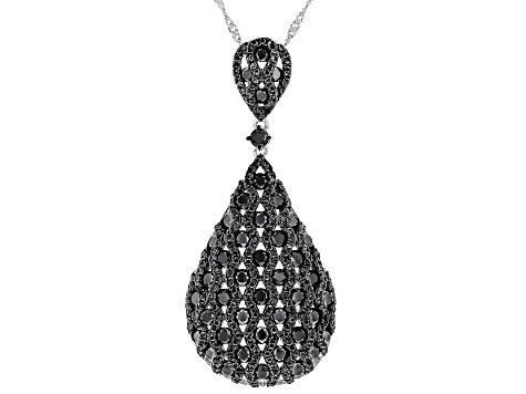 Black spinel sterling silver pendant with chain 6.44ctw