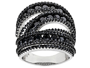 Black Spinel Rhodium Over Sterling Silver Ring 5.07ctw