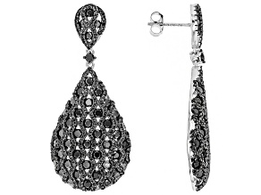 Black spinel sterling silver dangle earrings 7.66ctw