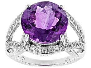 Purple African Amethyst Sterling Silver Ring 5.75ctw