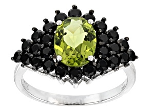 Green peridot sterling silver ring 3.50ctw
