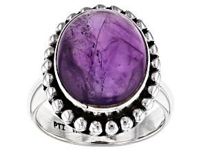Purple African Amethyst Sterling Silver Ring