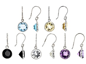 Multi gemstone sterling silver set of 5 dangle earrings 25.00ctw