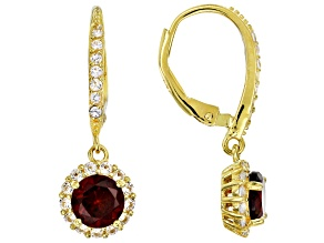 Red Garnet 18K Yellow Gold Over Sterling Silver Dangle Earrings 2.63ctw