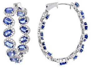 Blue Nepalese Kyanite Sterling Silver Hoop Earrings 18.90ctw