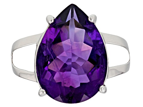 Purple Brazilian Amethyst Sterling Silver Solitaire Ring 10.00ctw