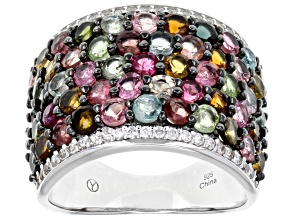 Multi Tourmaline Rhodium Over Sterling Silver Ring 4.60ctw