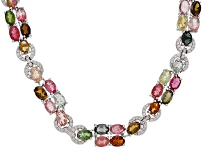 Multi tourmaline rhodium over sterling silver necklace 44.85ctw