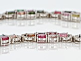 Multi tourmaline sterling silver necklace 44.85ctw