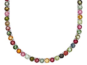 Multi tourmaline sterling silver necklace 14.00ctw