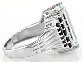 Blue Aquamarine Sterling Silver Ring 7.48ctw