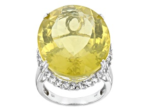 Yellow Canary Quartz Sterling Silver Ring 33.00ctw
