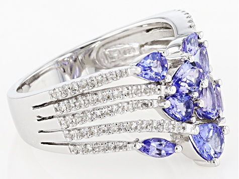 Blue tanzanite rhodium over sterling silver ring 1.70ctw