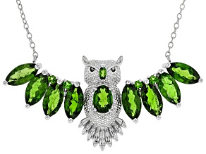 Green Russian Chrome Diopside Rhodium Over Sterling Silver Owl Necklace 5.08ctw