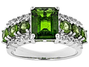 Green Russian Chrome Diopside Rhodium Over Sterling Silver Ring 3.45ctw