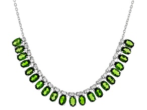 Green Russian Chrome Diopside Rhodium Over Sterling Silver Necklace 10.99ctw