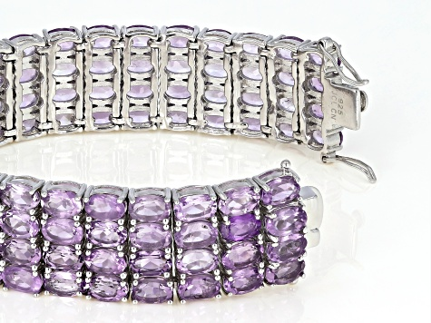 Lavender Brazilian Amethyst Rhodium Over Sterling Silver Multi Row Bracelet 56.00ctw