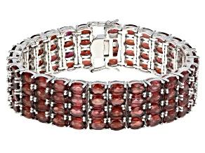 Red Garnet Rhodium Over Sterling Silver Multi Row Bracelet 84.00ctw