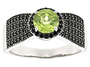 Green Peridot Rhodium Over Sterling Silver Ring 1.05ctw