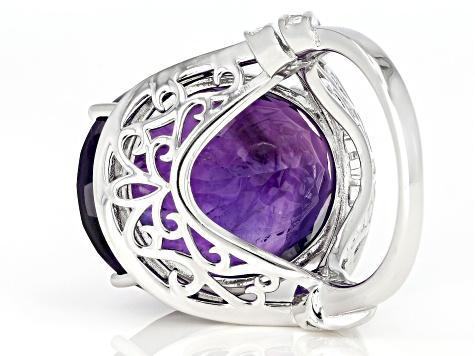 Purple African Amethyst Rhodium Over Sterling Silver Ring 22.75ctw
