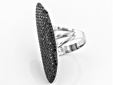 Black Spinel Rhodium Over Sterling Silver Ring 2.59ctw