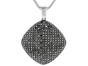 Black Spinel Rhodium Over Sterling Silver Pendant With Chain 2.75ctw