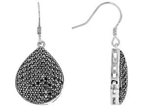 Black Spinel Rhodium Over Sterling Silver Teardrop Earrings 2.48ctw