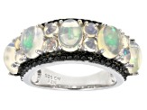Multi Color Ethiopian Opal Rhodium Over Sterling Silver Ring 3.50ctw