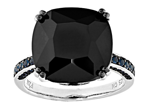 Black Spinel Rhodium Over Sterling Silver Ring 13.53ctw