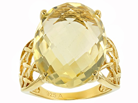 Yellow Brazilian Citrine 18K Yellow Gold Over Sterling Silver Ring 15.00ct