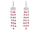 Pink Tourmaline Rhodium Over Sterling Silver Dangle Earrings 10.00ctw