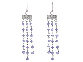Tanzanite Rhodium Over Sterling Silver Dangle Earrings 10.00ctw