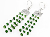 Chrome Diopside Rhodium Over Sterling Silver Dangle Earrings 10.00ctw