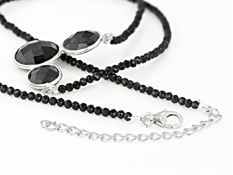 Black Spinel Rhodium Over Sterling Silver 3-Stone Beaded Necklace 30.00ctw