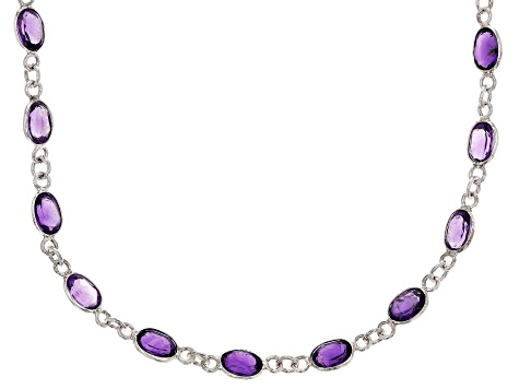 Purple African Amethyst Rhodium Over Sterling Silver Station Necklace 14.00ctw