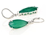 Green Onyx Rhodium Over Sterling Silver Teardrop Earrings