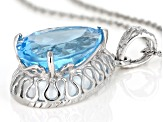 Sky Blue Topaz Rhodium Over Sterling Silver Pendant With Chain 9.00ct
