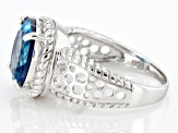 London Blue Topaz Rhodium Over Sterling Silver Ring 5.50ct