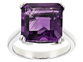 Purple Brazilian Amethyst Rhodium Over Sterling Silver Ring 5.00ct