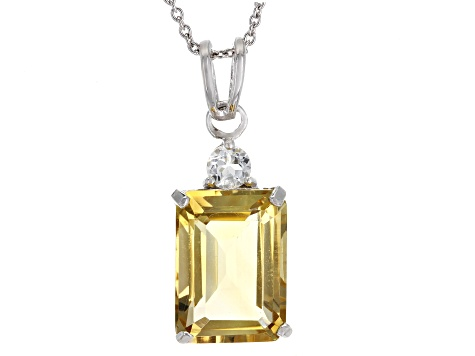Yellow Brazilian Citrine Rhodium Over Sterling Silver Pendant With Chain 7.35ctw