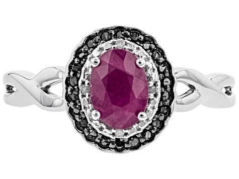 Red Burma Ruby Rhodium Over Sterling Silver RIng .83ctw
