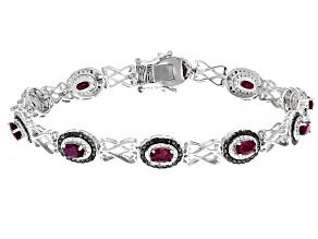Red Ruby Rhodium Over Silver Bracelet 3.14ctw